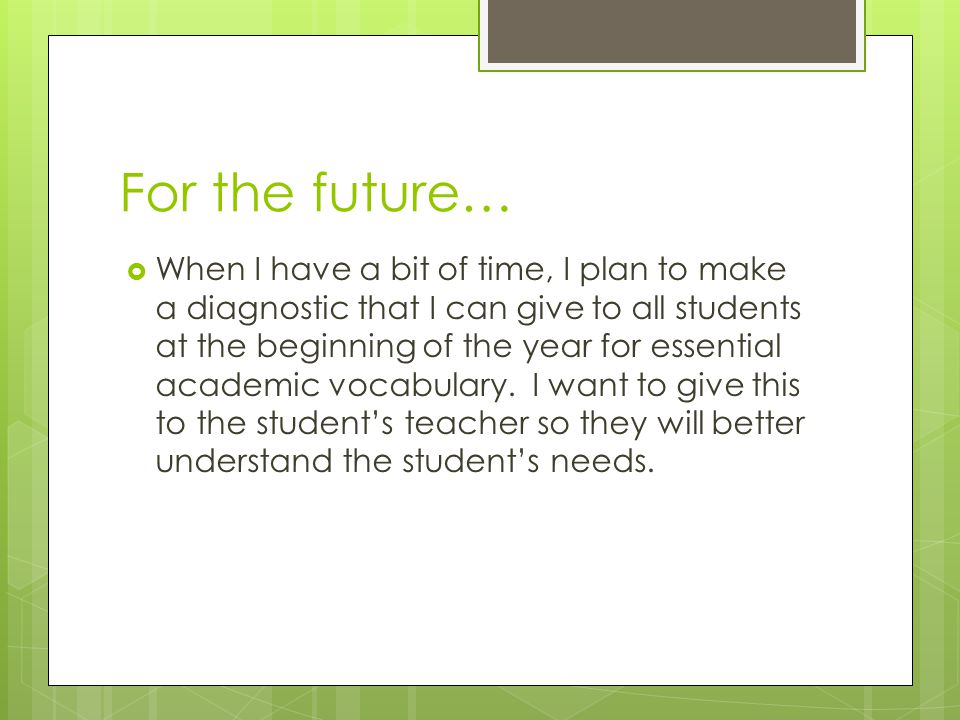 For the future…  When I have a bit of time, I plan to make a diagnostic that I can give to all students at the beginning of the year for essential ac