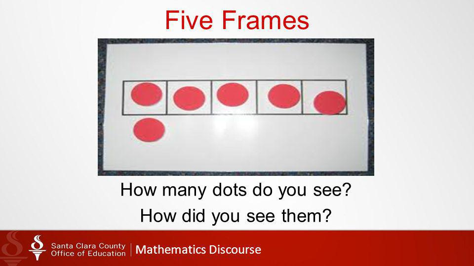 Mathematics Discourse Five Frames How many dots do you see How did you see them
