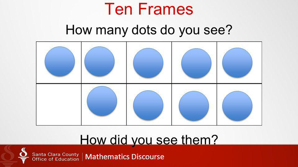 Mathematics Discourse Ten Frames How many dots do you see How did you see them