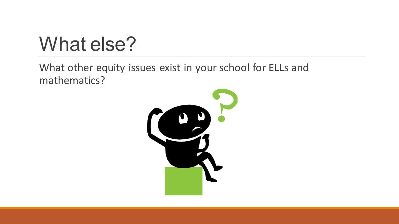 What else What other equity issues exist in your school for ELLs and mathematics