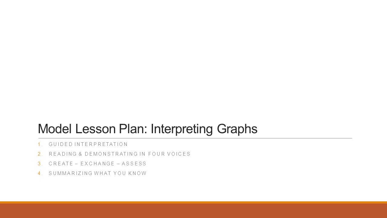 Model Lesson Plan: Interpreting Graphs 1.GUIDED INTERPRETATION 2.READING & DEMONSTRATING IN FOUR VOICES 3.CREATE – EXCHANGE – ASSESS 4.SUMMARIZING WHAT YOU KNOW