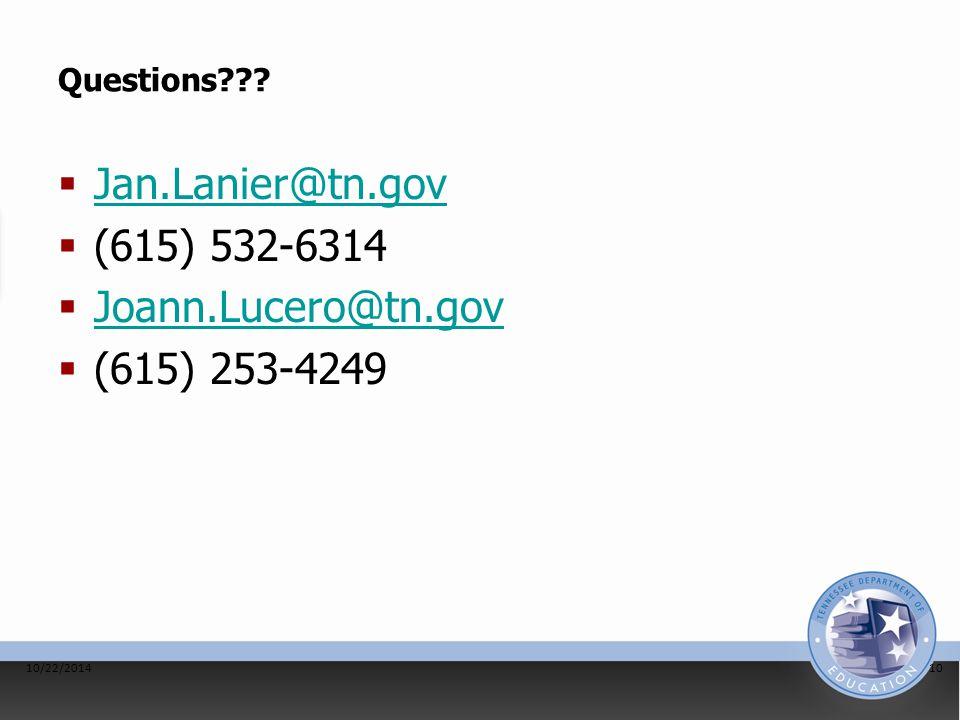Questions???  Jan.Lanier@tn.gov Jan.Lanier@tn.gov  (615) 532-6314  Joann.Lucero@tn.gov Joann.Lucero@tn.gov  (615) 253-4249 10/22/201410