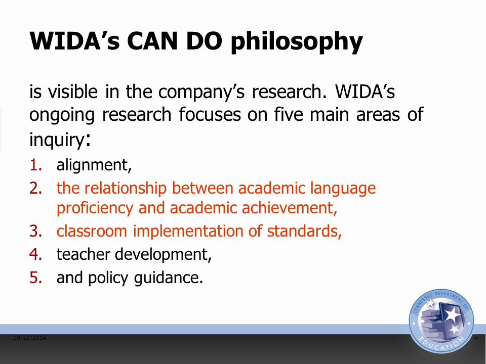 WIDA's CAN DO philosophy is visible in the company's research.