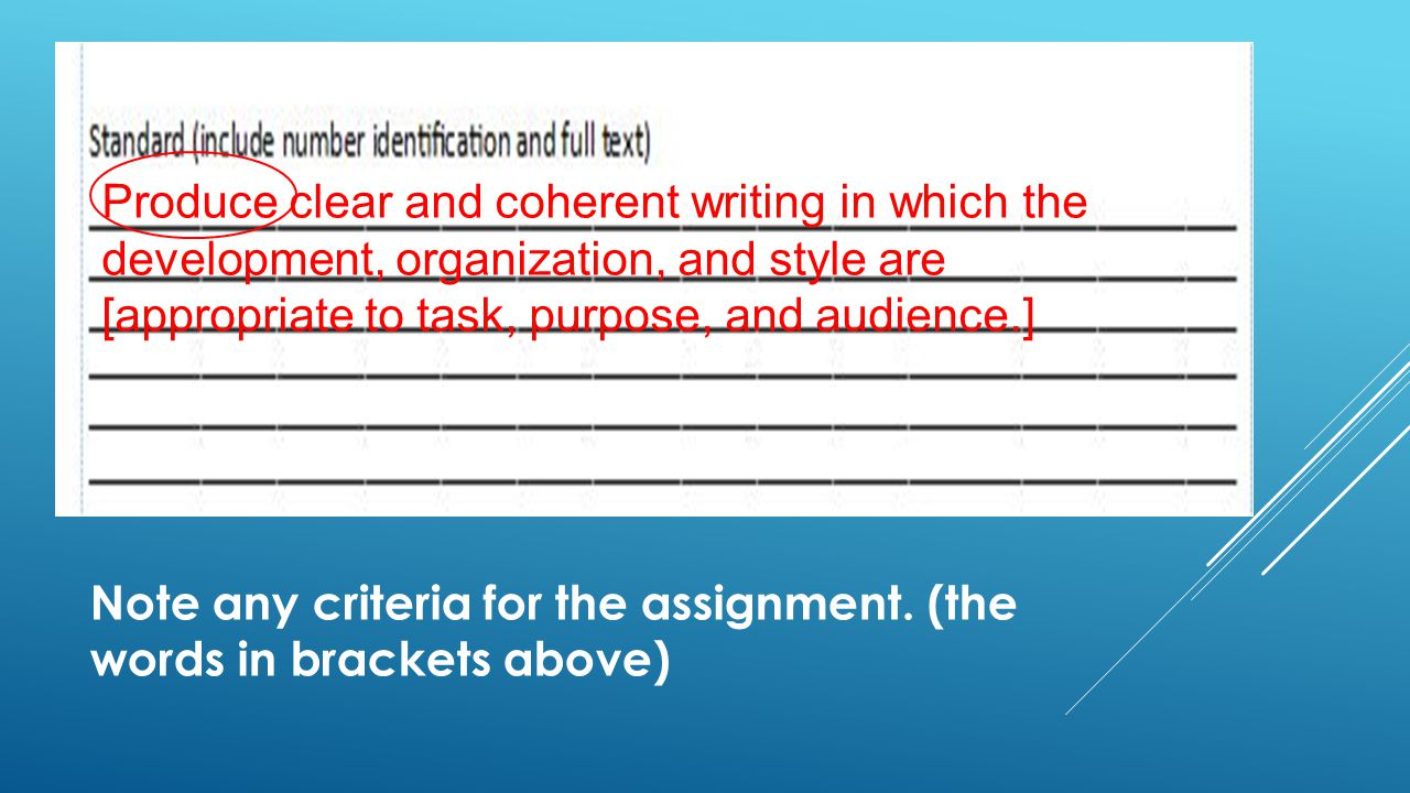 Note any criteria for the assignment.