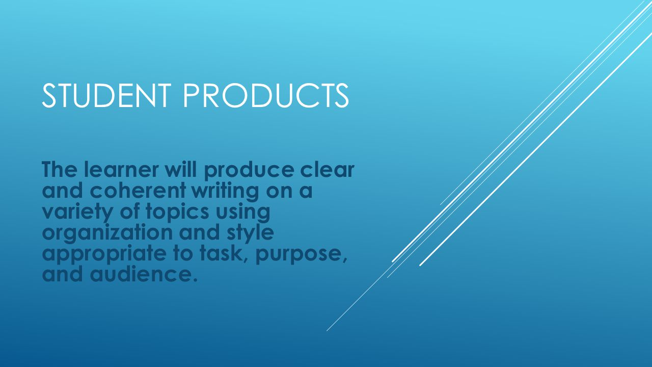 STUDENT PRODUCTS The learner will produce clear and coherent writing on a variety of topics using organization and style appropriate to task, purpose, and audience.
