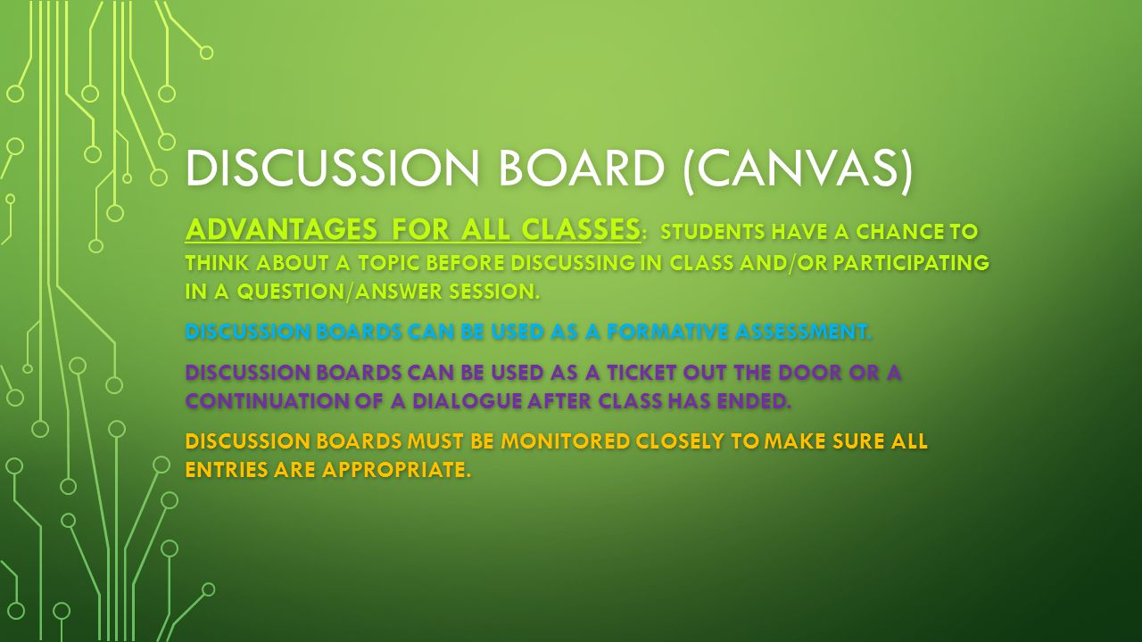 DISCUSSION BOARD (CANVAS) ADVANTAGES FOR ALL CLASSES : STUDENTS HAVE A CHANCE TO THINK ABOUT A TOPIC BEFORE DISCUSSING IN CLASS AND/OR PARTICIPATING I