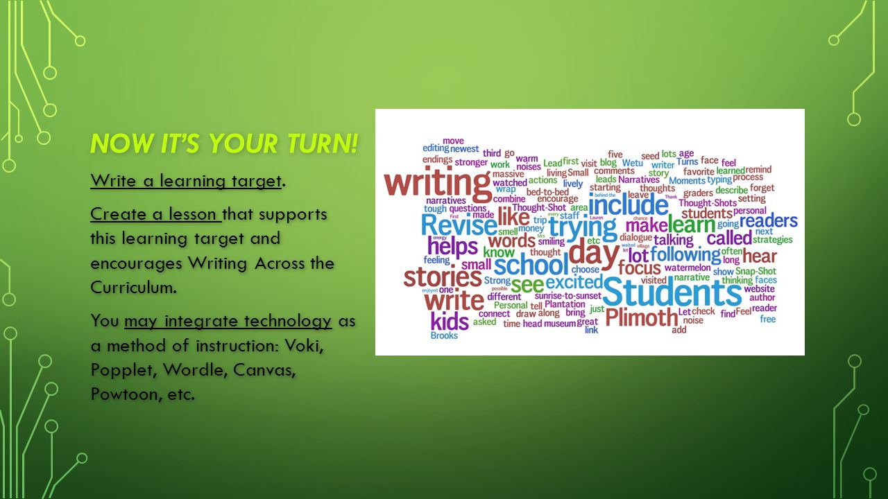 NOW IT'S YOUR TURN! Write a learning target. Create a lesson that supports this learning target and encourages Writing Across the Curriculum. You may