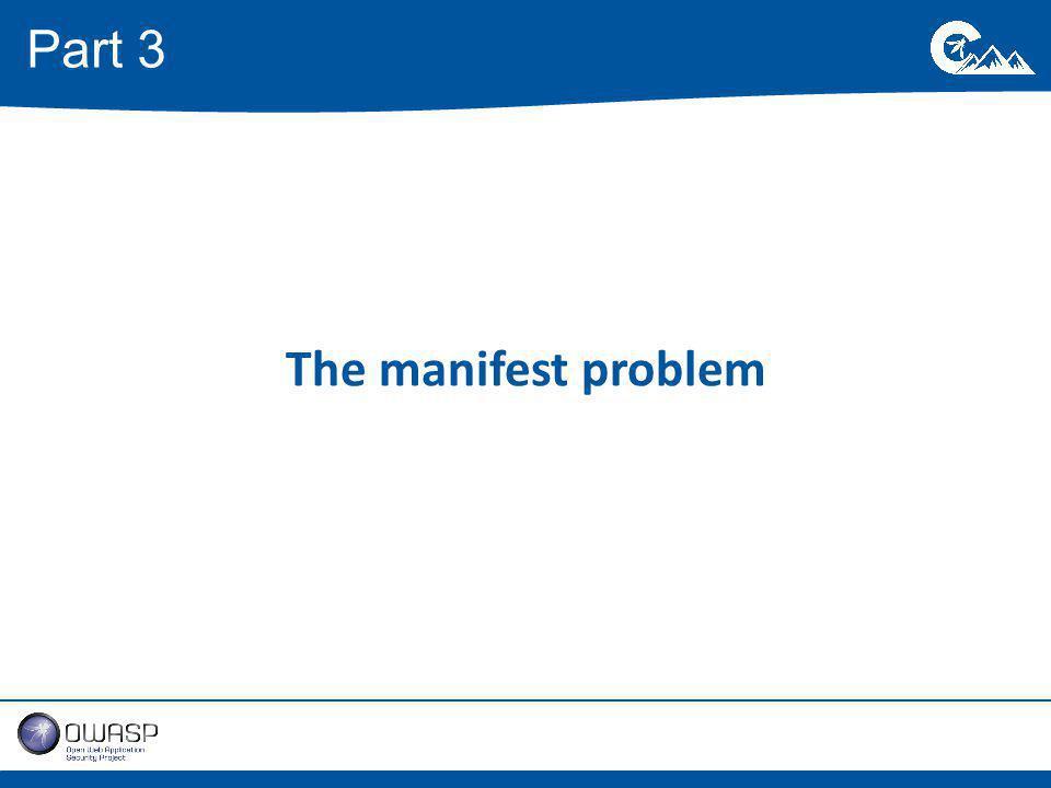 The manifest problem Part 3