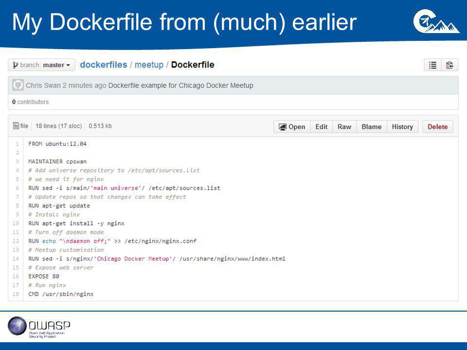 My Dockerfile from (much) earlier