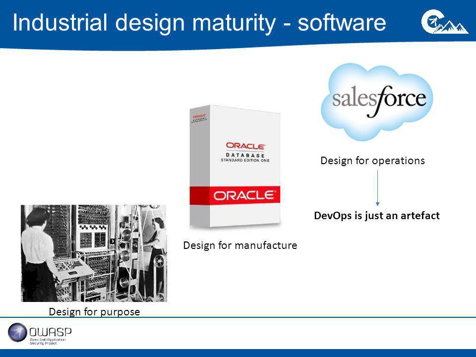 Industrial design maturity - software Design for purpose Design for manufacture Design for operations DevOps is just an artefact