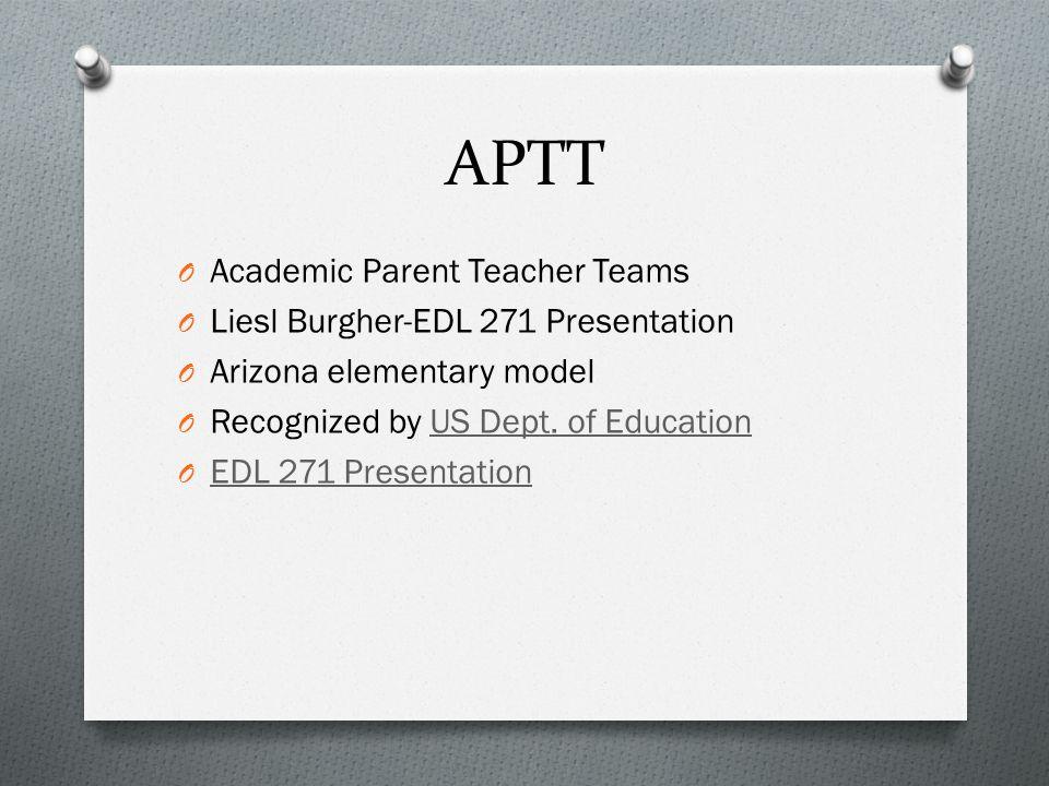 APTT O Academic Parent Teacher Teams O Liesl Burgher-EDL 271 Presentation O Arizona elementary model O Recognized by US Dept.
