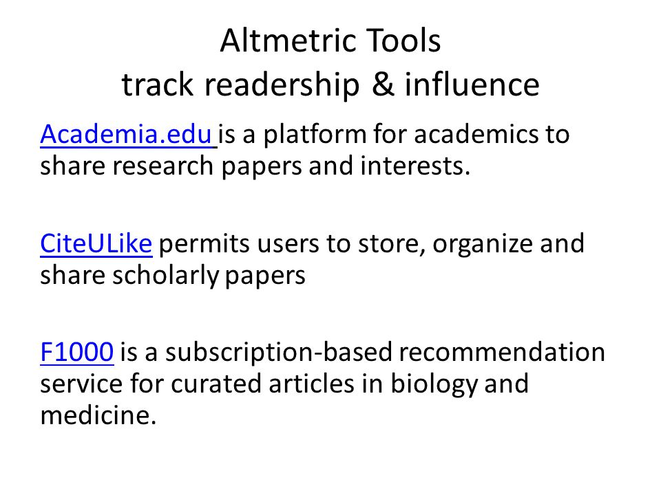 Altmetric Tools track readership & influence Academia.eduAcademia.edu is a platform for academics to share research papers and interests.