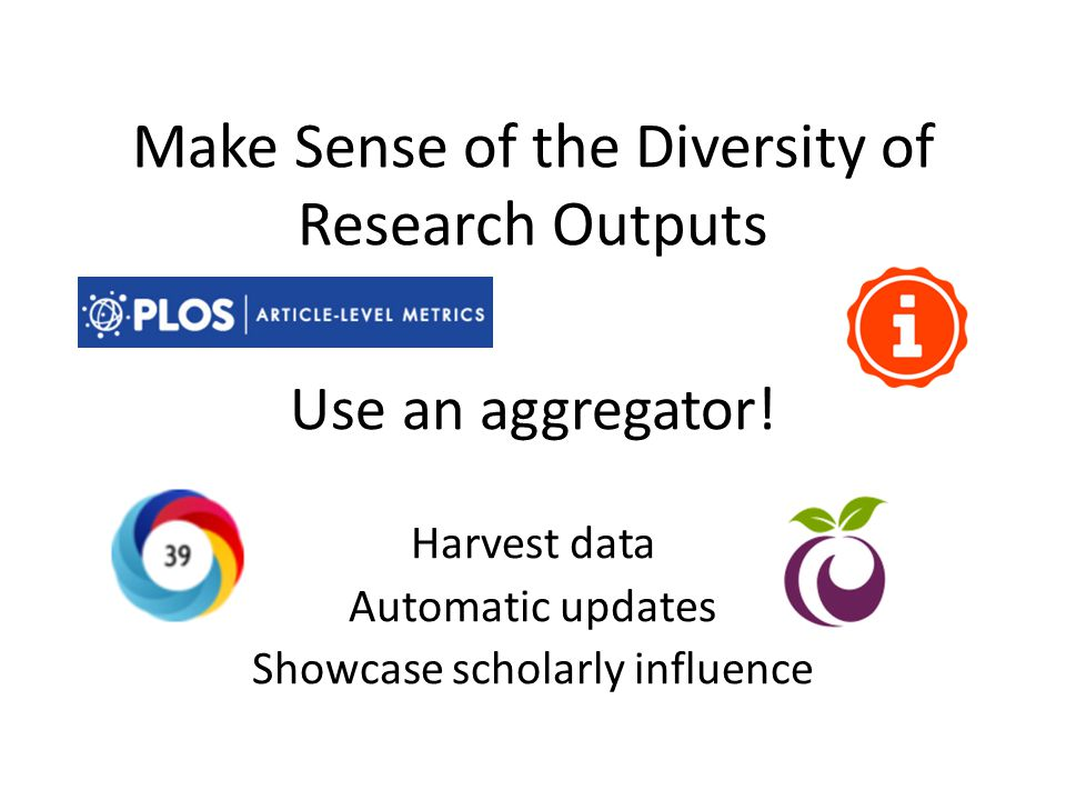 Make Sense of the Diversity of Research Outputs Use an aggregator.