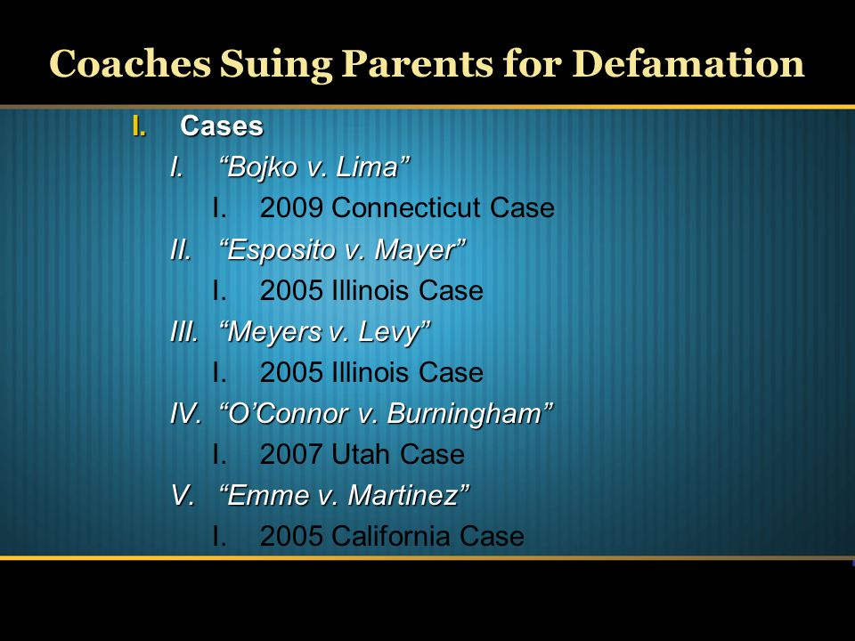 Coaches Suing Parents for Defamation Continued I.Anti-SLAPP Laws I.Background Information II.Cases I. Lee v.