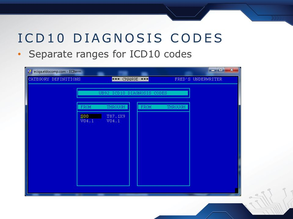 Separate ranges for ICD10 codes