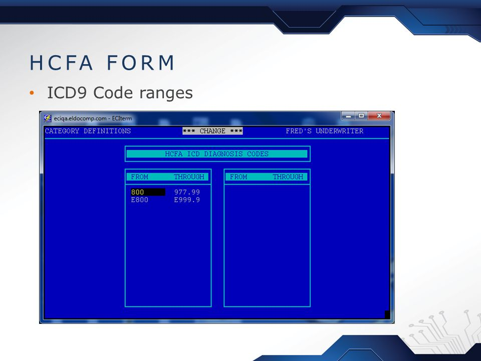 HCFA FORM ICD9 Code ranges