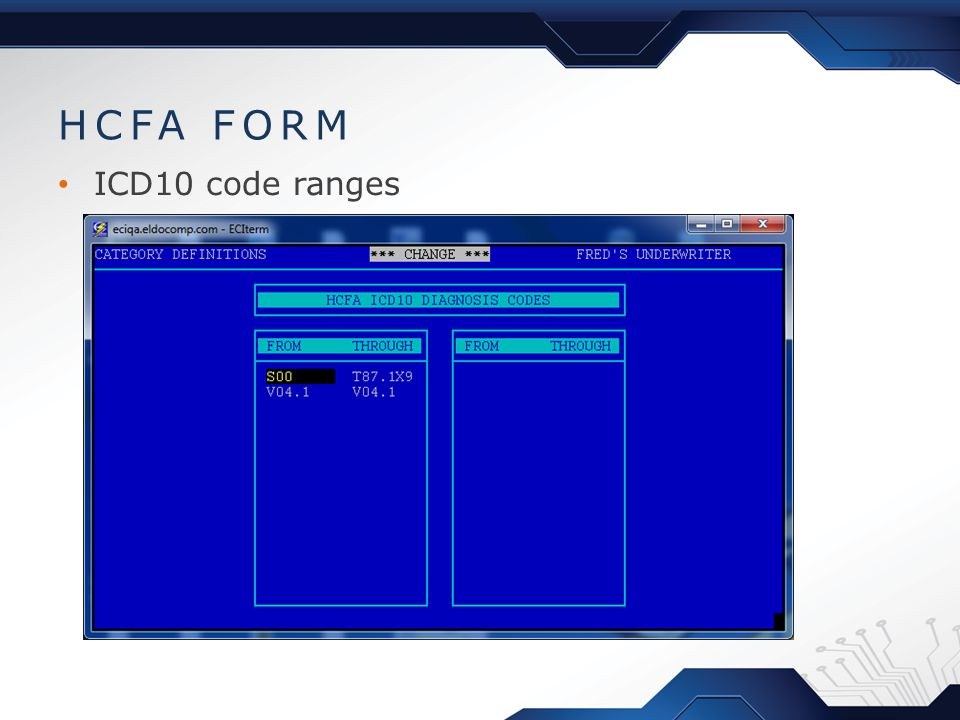 HCFA FORM ICD10 code ranges
