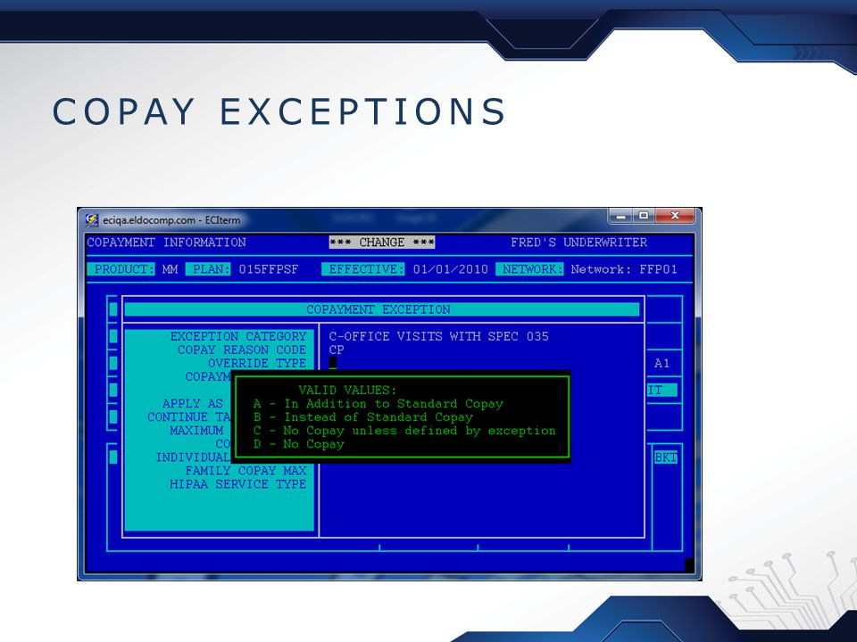 COPAY EXCEPTIONS