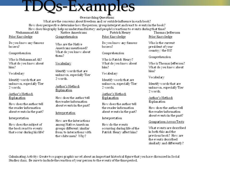 TDQs-Examples
