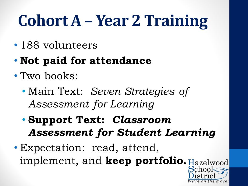Cohort A – Year 2 Training 188 volunteers Not paid for attendance Two books: Main Text: Seven Strategies of Assessment for Learning Support Text: Classroom Assessment for Student Learning Expectation: read, attend, implement, and keep portfolio.