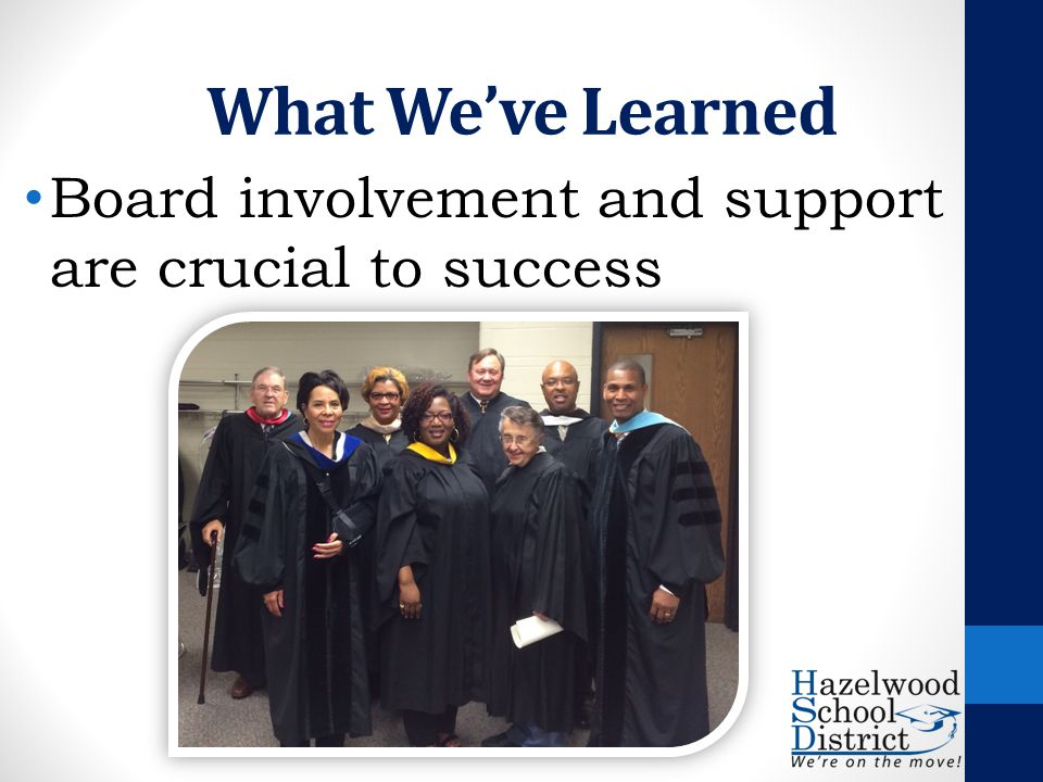 What We've Learned Board involvement and support are crucial to success