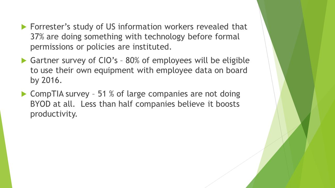  Forrester's study of US information workers revealed that 37% are doing something with technology before formal permissions or policies are instituted.
