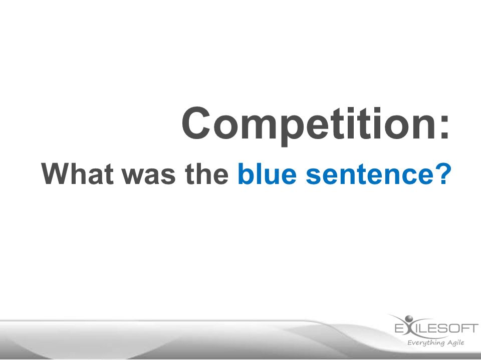 Competition: What was the blue sentence