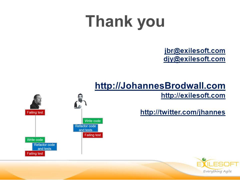 jbr@exilesoft.com djy@exilesoft.com http://JohannesBrodwall.com http://exilesoft.com http://twitter.com/jhannes Thank you