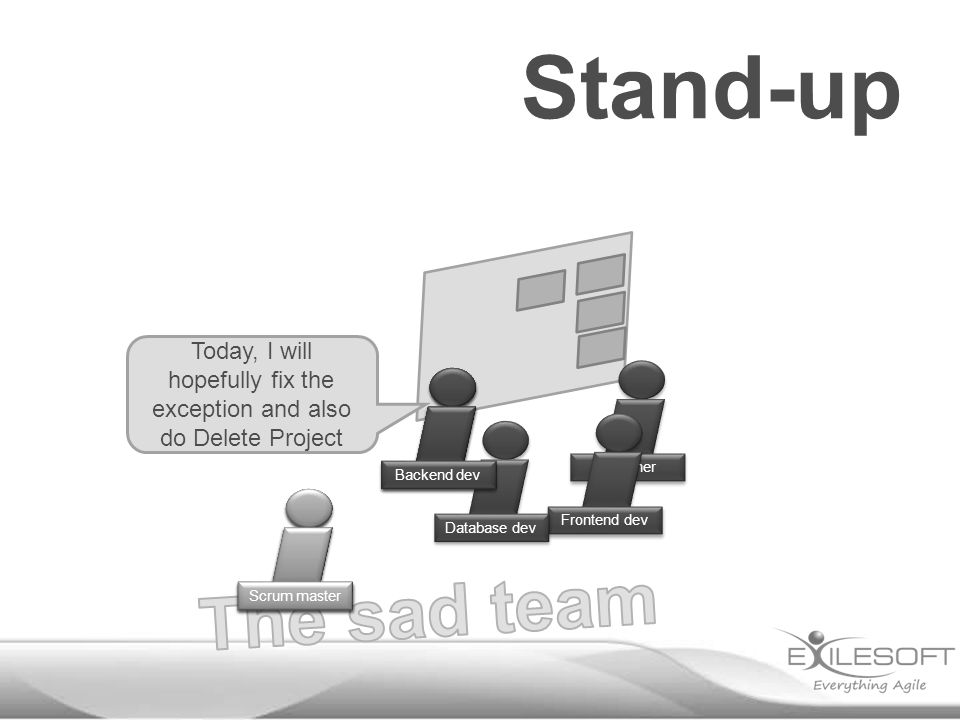 Stand-up Today, I will hopefully fix the exception and also do Delete Project Johannes Scrum master Designer Frontend dev Database dev Backend dev