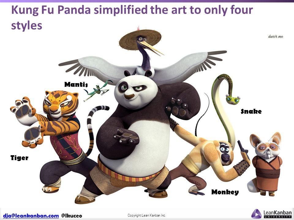 dja@leankanban.comdja@leankanban.com @lkuceo Copyright Lean Kanban Inc. Snake Monkey Mantis Tiger Kung Fu Panda simplified the art to only four styles