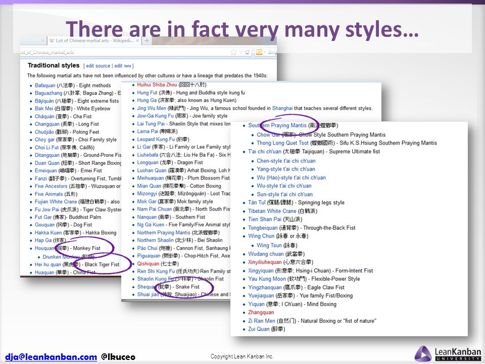 dja@leankanban.comdja@leankanban.com @lkuceo Copyright Lean Kanban Inc. There are in fact very many styles…