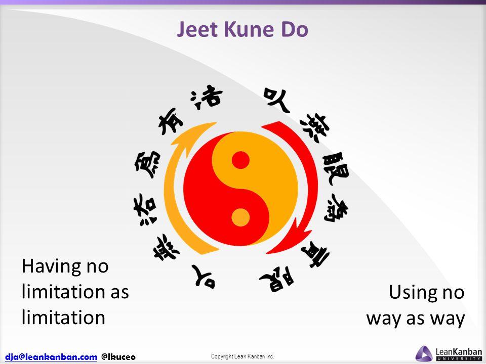 dja@leankanban.comdja@leankanban.com @lkuceo Copyright Lean Kanban Inc. Jeet Kune Do Using no way as way Having no limitation as limitation