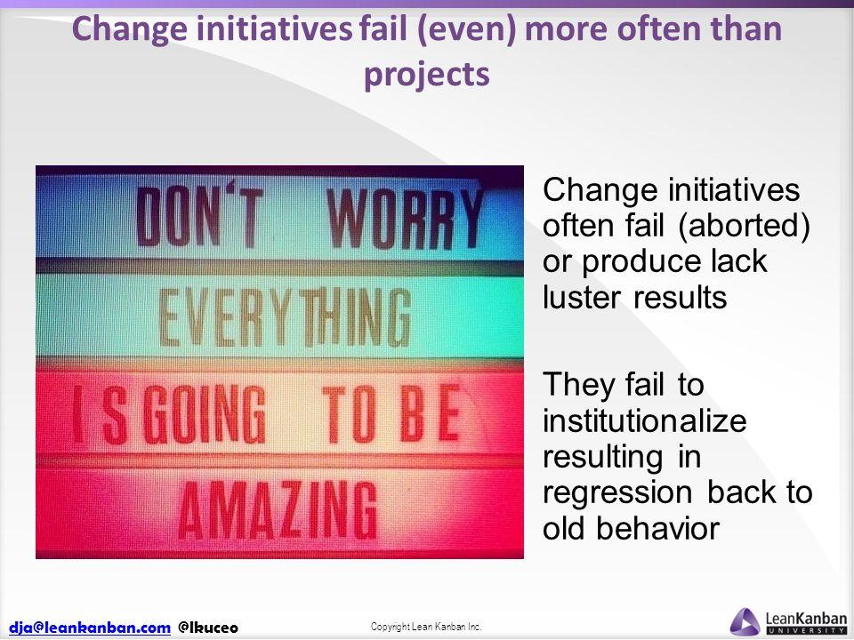 dja@leankanban.comdja@leankanban.com @lkuceo Copyright Lean Kanban Inc. Change initiatives fail (even) more often than projects Change initiatives oft