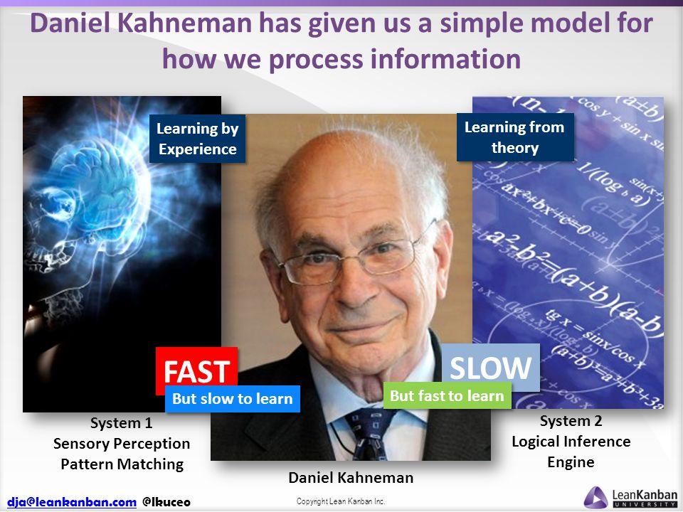 dja@leankanban.comdja@leankanban.com @lkuceo Copyright Lean Kanban Inc. Daniel Kahneman has given us a simple model for how we process information Dan