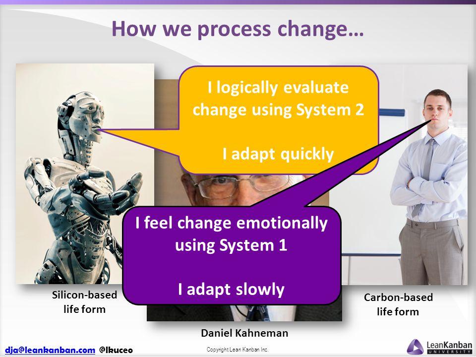 dja@leankanban.comdja@leankanban.com @lkuceo Copyright Lean Kanban Inc. How we process change… Daniel Kahneman Silicon-based life form Carbon-based li