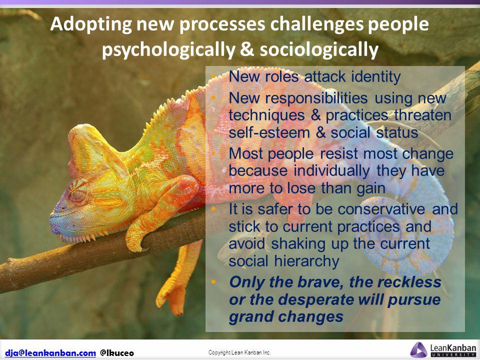 dja@leankanban.comdja@leankanban.com @lkuceo Copyright Lean Kanban Inc. Adopting new processes challenges people psychologically & sociologically New
