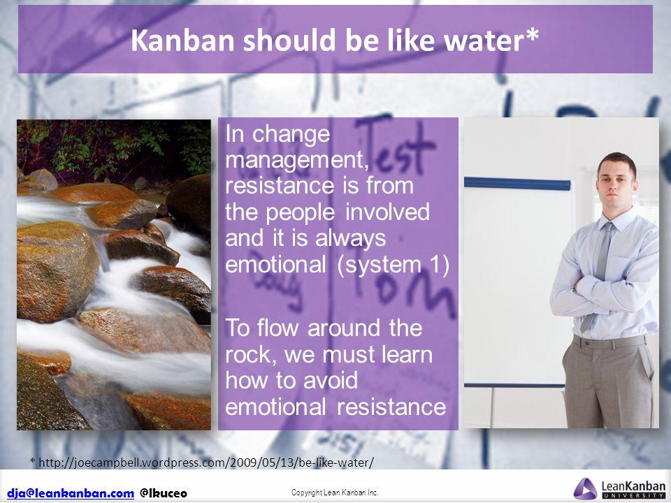dja@leankanban.comdja@leankanban.com @lkuceo Copyright Lean Kanban Inc. Kanban should be like water* In change management, resistance is from the peop