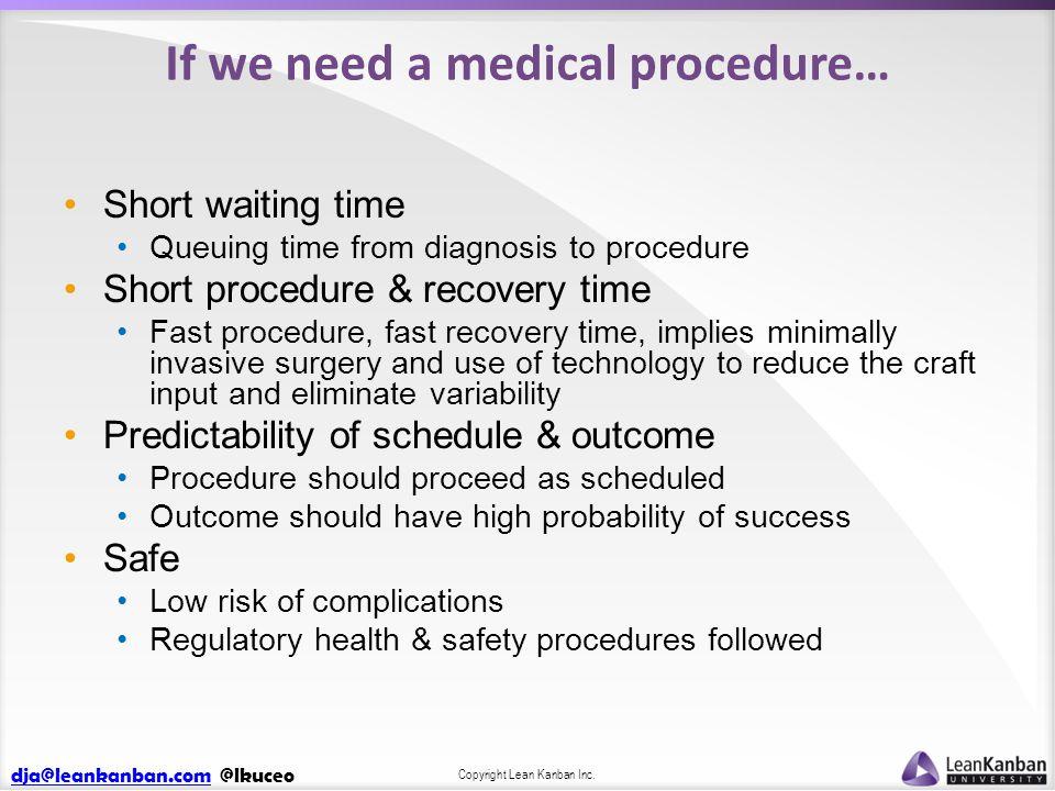 dja@leankanban.comdja@leankanban.com @lkuceo Copyright Lean Kanban Inc. If we need a medical procedure… Short waiting time Queuing time from diagnosis