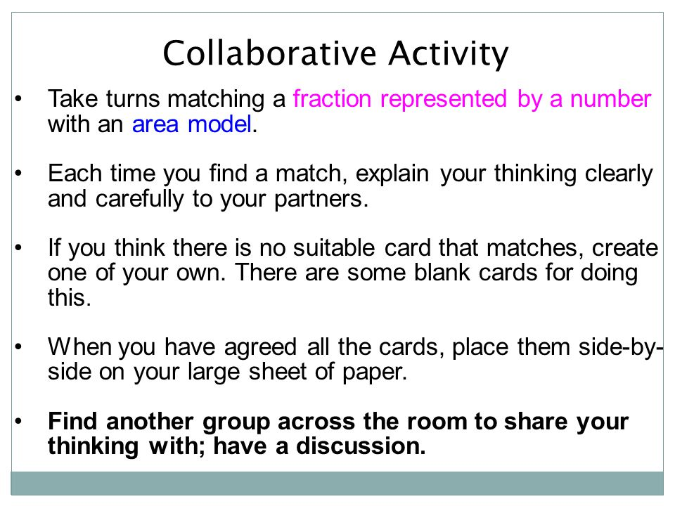 Collaborative Activity Take turns matching a fraction represented by a number with an area model.