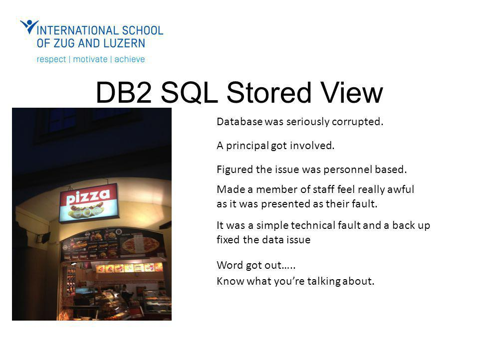 DB2 SQL Stored View Database was seriously corrupted.