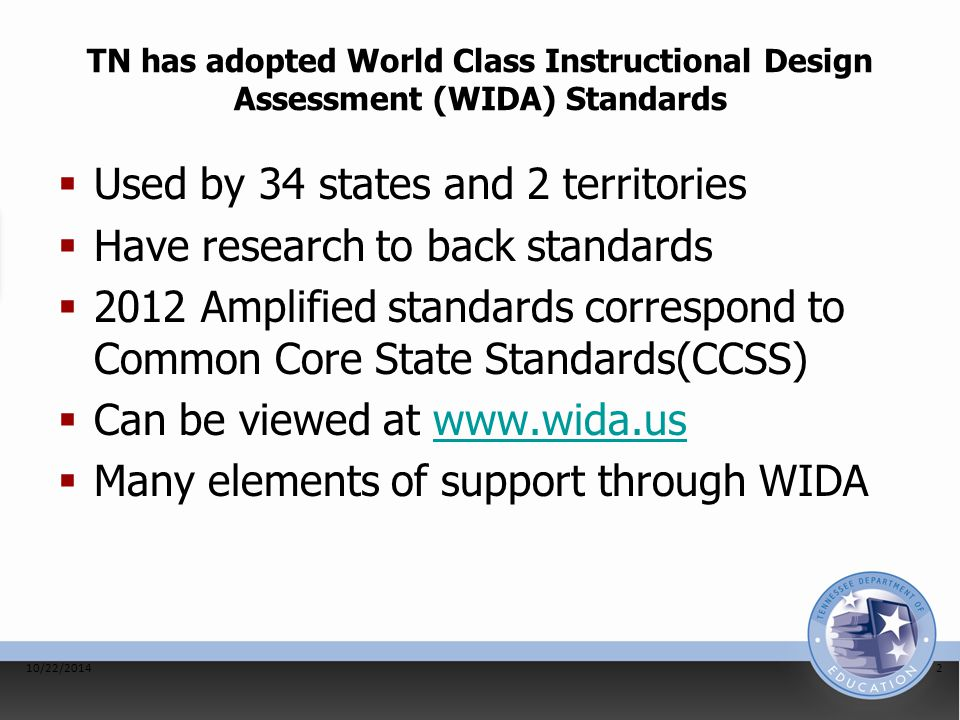 TN has adopted World Class Instructional Design Assessment (WIDA) Standards  Used by 34 states and 2 territories  Have research to back standards 