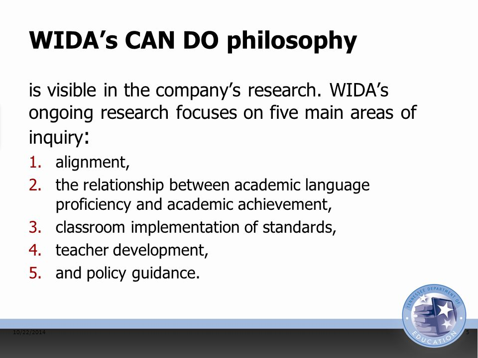 WIDA's CAN DO philosophy is visible in the company's research. WIDA's ongoing research focuses on five main areas of inquiry : 1.alignment, 2.the rela