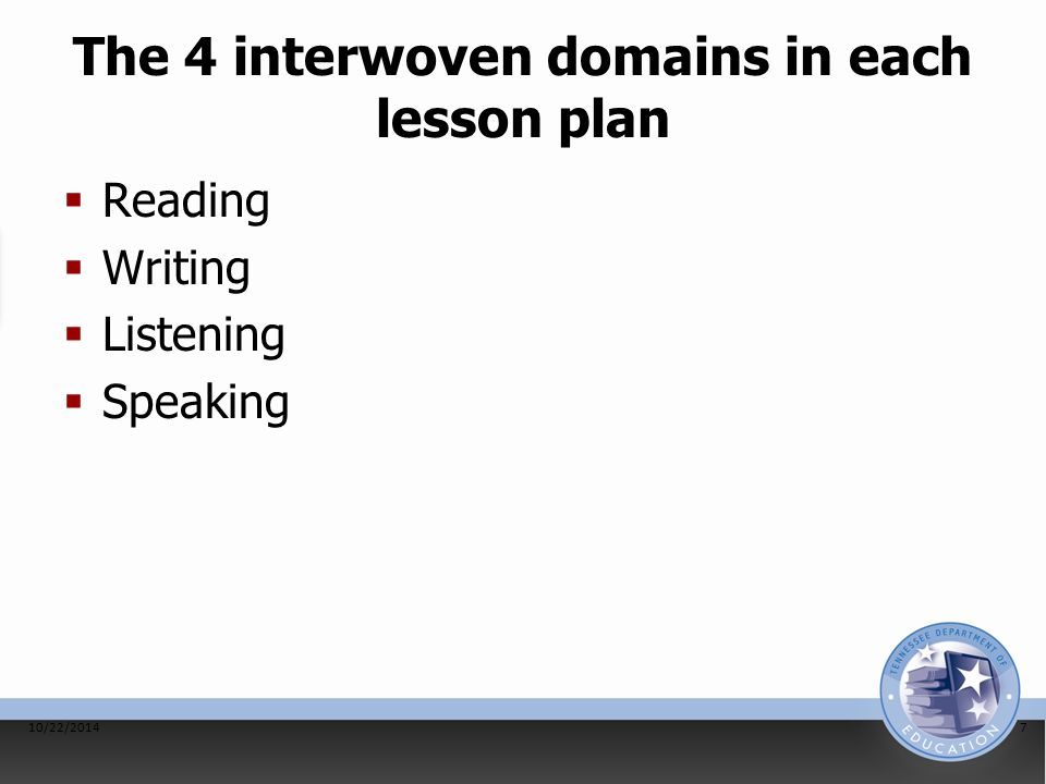 The 4 interwoven domains in each lesson plan  Reading  Writing  Listening  Speaking 10/22/20147