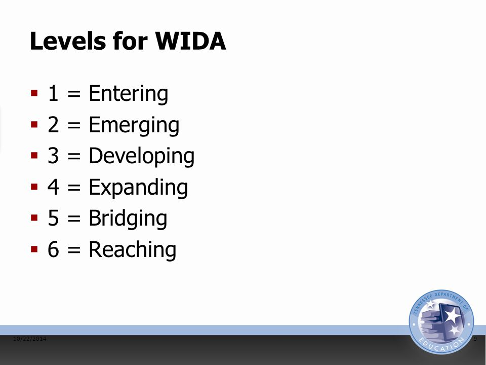 Levels for WIDA  1 = Entering  2 = Emerging  3 = Developing  4 = Expanding  5 = Bridging  6 = Reaching 10/22/20149