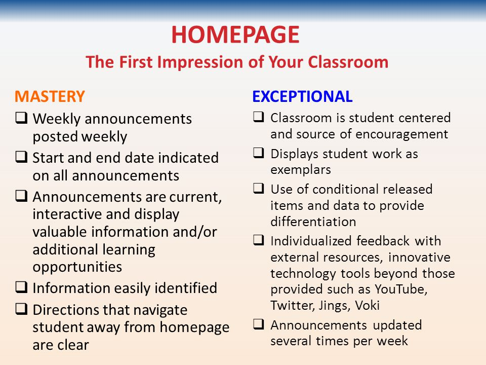 HOMEPAGE The First Impression of Your Classroom MASTERY  Weekly announcements posted weekly  Start and end date indicated on all announcements  Ann
