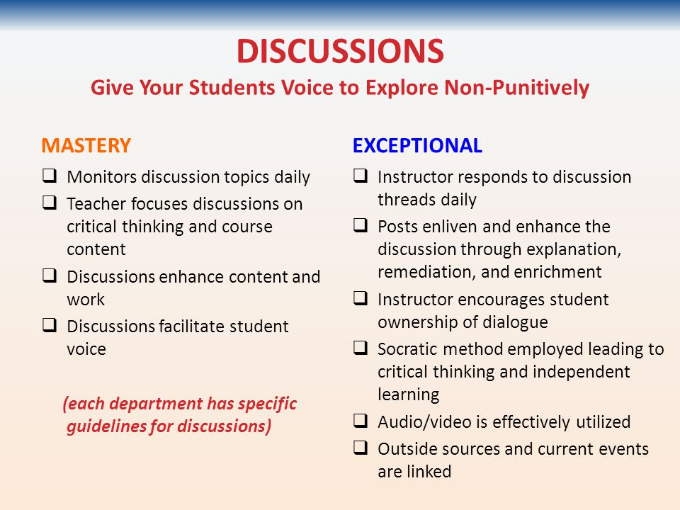 DISCUSSIONS Give Your Students Voice to Explore Non-Punitively MASTERY  Monitors discussion topics daily  Teacher focuses discussions on critical th