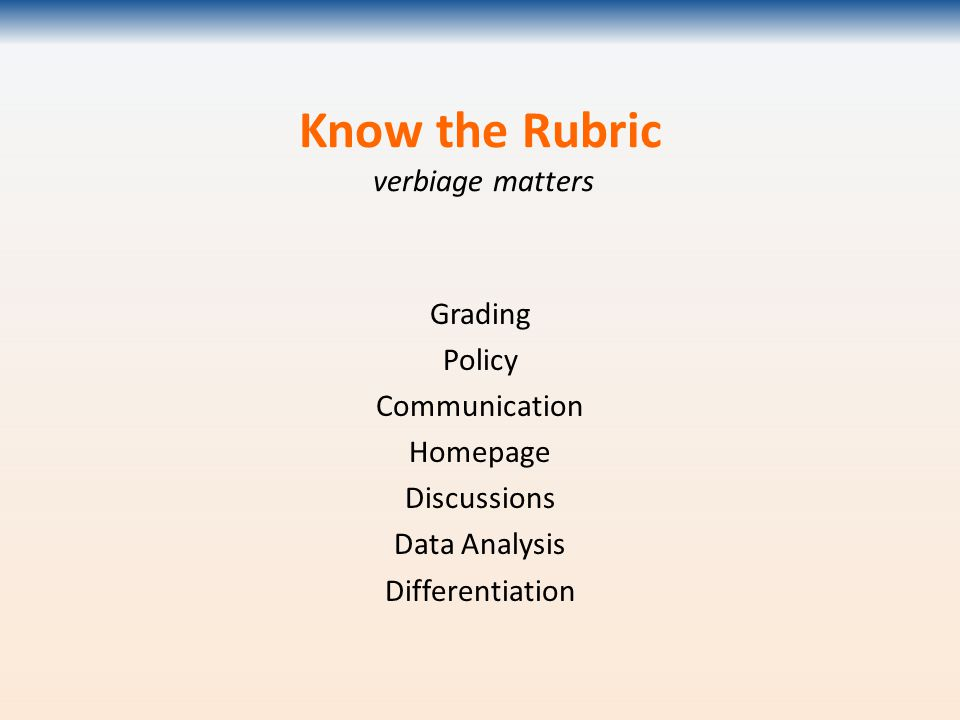 Know the Rubric verbiage matters Grading Policy Communication Homepage Discussions Data Analysis Differentiation