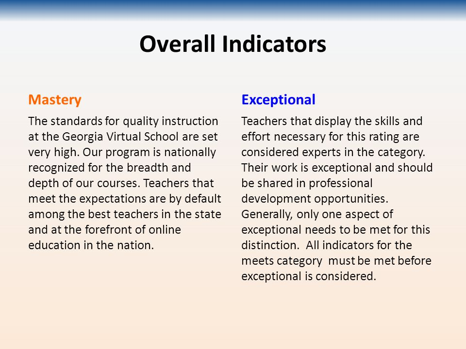 Overall Indicators Mastery The standards for quality instruction at the Georgia Virtual School are set very high.