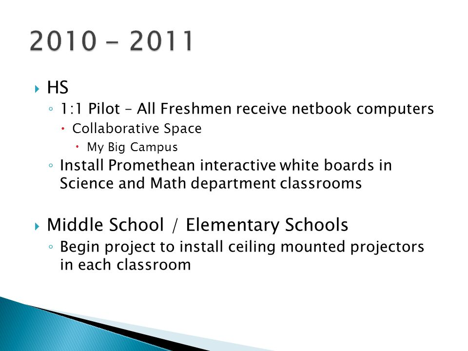  HS ◦ 1:1 Pilot – All Freshmen receive netbook computers  Collaborative Space  My Big Campus ◦ Install Promethean interactive white boards in Science and Math department classrooms  Middle School / Elementary Schools ◦ Begin project to install ceiling mounted projectors in each classroom
