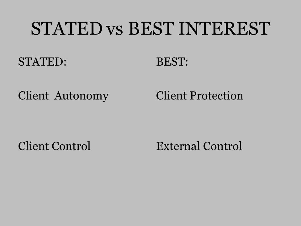 STATED vs BEST INTEREST STATED: Client Autonomy Client Control BEST: Client Protection External Control